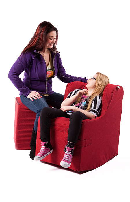 Mother and Daughter Using Rock'er Chair
